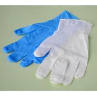 China Medical Blue / White Nitrile Exam Gloves Powder Free Non-sterile Type on sale