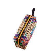 Quality wholesale canvas embroidery stationery colored pencil set cosmetic bag for sale