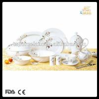 hotsale 61pcs  round decal new bone china dinner set with cut decal Manufactures