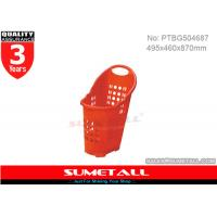 China Supermarket / Grocery Store Plastic Shopping Baskets With Three 2.5 Inch PU Wheels on sale