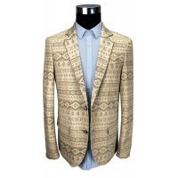 Custom Printed Suit 100% Cotton Jacket Beige Custom Made Size Breathable Manufactures