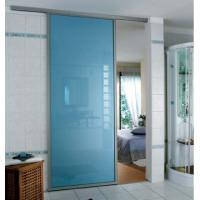 China Blue Tempered Glass Door , Tempered Glass Toilet Door No holes on sale