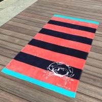 Crab Red and Black Stripe Promotional Velour Beach Towel with Company Logo
