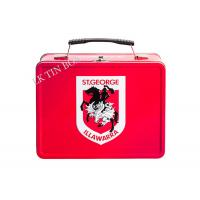 Custom Printed Rectangular Tin Lunch Box With Embossing , Metal Lunch Boxes For Kids Manufactures