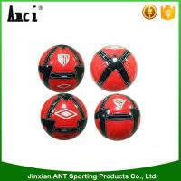 China Top quality red color with logo printing TPU  machine stitching size 5 soccer ball on sale