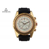 China Multifunction Mens Leather Strap Watches , Quartz Black And Gold Watch Customizable on sale