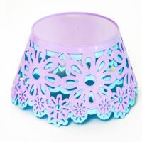 Non - Toxic Recycle Plastic Fruit Bowl  Safe Round Shape  Pink Blue Color
