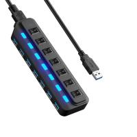 China 7 Port Micro Usb Charging Cable HUB Every Port With Both Sharing Switch / LED on sale