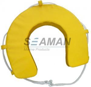 Yellow / White PVC Horseshoe Lifebuoy Leisure Boat Yacht Lifesaving Ring Manufactures