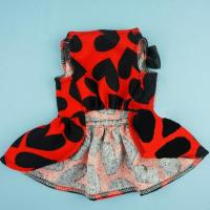 Quality Red Cloth&Black Heart Pattern Pet Dog Wedding Dresses For Dog for sale