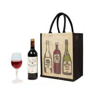 China Portable Custom Tote Bags for Bottle Wine , Black Jute Shopping Bags Printed on sale