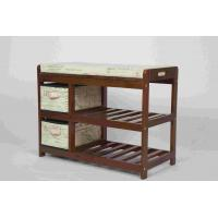 Walnut Classical Modern Wood Furniture Shoe Storage Bench Seat With 2 Fabric Drawers Manufactures