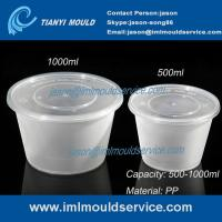 China 500ml/1000ml clear PP plastic disposable noodle bowl and soup bowl with lid mould on sale