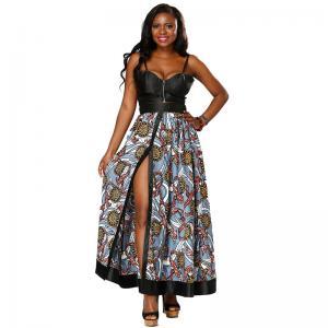 Two Piece Design Long African Print Dresses Split Button Placket Front Skirt Manufactures