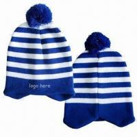 Pom Beanie with Customized Logo by Embroidery, Made of Acrylic Material Manufactures