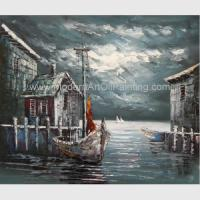 China Abstract Houses Boat Dock Canvas Wall Art Paintings For Living Room on sale