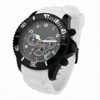 Silicone Sports Watch with Calendar, Silicone Strap and Plastic Case, Popular Style on 2013 Manufactures