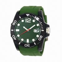 Silicone Watch with Army Color Plastic Case and Silicone Strap, Japan Movement, Calendar Manufactures