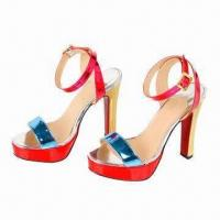 High-heeled Ladies Platform Red Sandals with Patent Leather Upper, Golden Heel and Rubber Outsole Manufactures