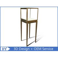 China Manufacturer oem top grade fully assemble  brush stainless steel glass pedestal display stand with lights on sale