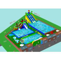 Custom Inflatable Water Amusement Park Pool Combined With Slide Manufactures
