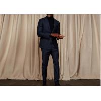 Tailored Blue Pinstripe 3 Piece Suit Woven Jacquard Fabric Fit Spring / Autumn Manufactures
