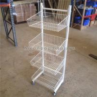 Metal Wire Display Stand Free Standing With 4 - Layer Basket Holder / 4 Caster Manufactures