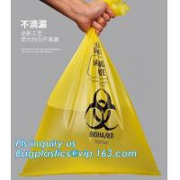 HDPE materials yellow color disposable plastic medical biohazard bag, Autoclavable Polypropylene Bags with Message, pac Manufactures
