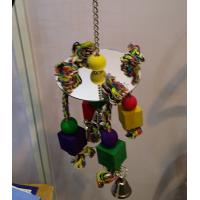 bird kabob toys with acrylic mirror and wooden beads on cotton ropes for cockatiel Manufactures