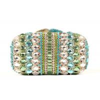 China Hard Case Handmade Stone Clutch Bag Malachite Green Crystal With Golden Lining on sale
