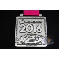 2016 Sports Marathon 10k 5k 1k Riding Events Metal Award Medal With Red RIbbon Antique Silver Plating Manufactures