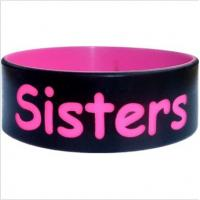 Wide Black Silicone Wristband Bracelet , Gift Silicone Rubber Wristband Manufactures