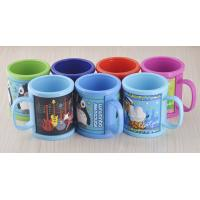 Personalized 9oz Plastic Mug With 3D Logo Designed Soft PVC Wrapped, Children's washing cup