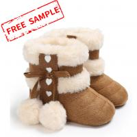 China Free sample cotton fluff ball rubber sole anti-slip indoor booties 0-2 years boy and girl baby boots on sale