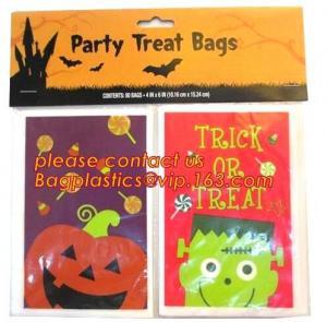 Halloween CPP plastic Cello Treat Bag with black twist ties,Pumpkin Bag Kids Candy Bag For Children Handhold bag Festiva Manufactures