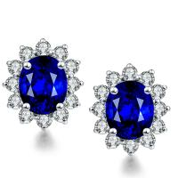 Diamonds 18k Gold Gemstone Earrings Round Sapphire Stud Earrings Manufactures