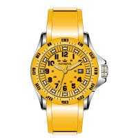 China Yellow Silicone Rubber Wristband Watch Men Stainless Steel Analog Dial on sale