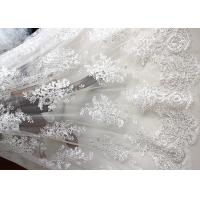 Luxury Ivory Embroidery Cord Sequin Lace Fabric / French Bridal Sequin Mesh Fabric Manufactures