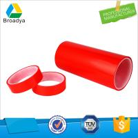 China Strong Double Sided PET Tape with Red Film Liner and Solvent Base Glue on sale