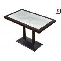 4 Seats Commercial Restaurant Tables Luxury Marble Inset Wood 4ft*2ft Casting Iron Manufactures