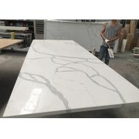 China Gray And White Quartz Tile Countertop Kitchen Cabinet Top Customised Size on sale