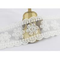Scalloped Edge Flower Embroidered Lace Ribbon , Embroidered Mesh Lace Trim Manufactures