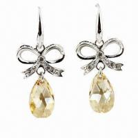 Drop Earrings with 18K Gold Plating and 100 Austria Crystal, Customized Specifications are Accepted Manufactures