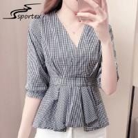 Half Sleeves Ladies Shirts And Blouses High Waist Grey Plaid Women Blouse Manufactures
