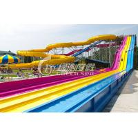 China Giant Interactive Racing Fiberglass Water Slides with Multi Lane , Customized wholesale
