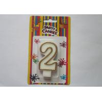 Quality OEM Fancy Number 2 Birthday Cake Candle / Anniversary Party Wax Candles for sale