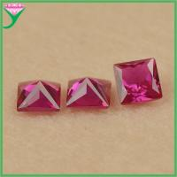 Hot Sale #5 loose square shape faceted rough artificial ruby corundum price Manufactures