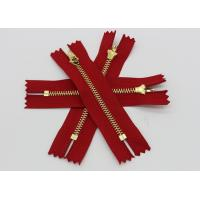Adhesive Normal Brass Teeth Heavy Duty Metal Zippers Red Tape For Jeans / Pants / Garments Manufactures