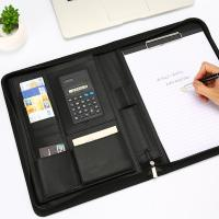 A4 Size Personalized Leather Padfolio Feel Comfortable With Pockets Clipboard Folder Manufactures