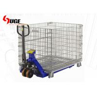 Quality Folding Galvanized Security Wire Mesh Container / Steel Pallet Box 1200kg Loading Capacity for sale